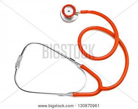 Orange stethoscope isolated on white