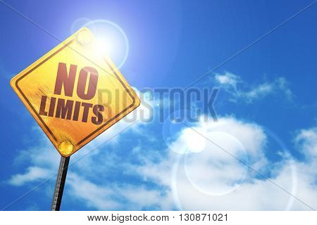 no limits, 3D rendering, a yellow road sign