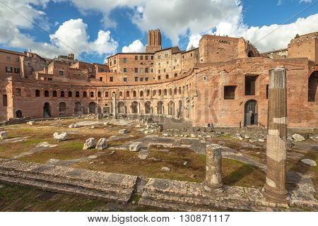 The Portici Laterali of the famous ruins of the Trajan's Forum, Foro di Traiano, in Rome, Lazio, Italy.