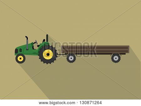 A tractor with a cart. Agricultural illustration in flat design style vector.