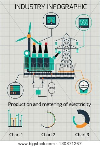 Infographic template. The power supply of town by coal stations.