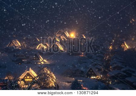 Shirakawago light-up with Snowfall Gifu Chubu Japan with snowfall