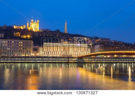 Lyon Notre-Dame de Fourviere Basilica with Saone river night, France