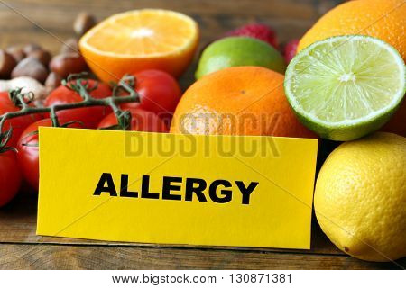 Set of allergic food on wooden background