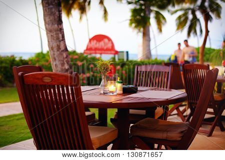 cute summer terrace near the tropical beach