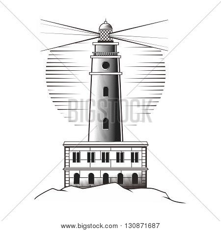 Vector Vintage Pencil Sketch Monochrome Lighthouse Illustration, Cabo de Palos Lighthouse