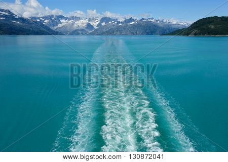 View of Glacier Bay National Park from a ship, Alaska