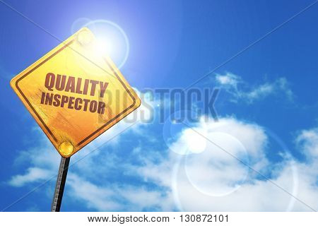 quality inspector, 3D rendering, a yellow road sign