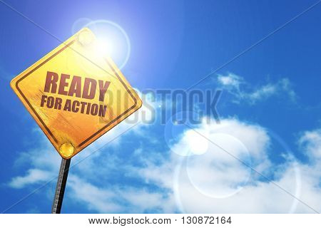 ready for action, 3D rendering, a yellow road sign