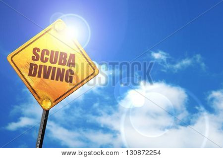 scuba diving, 3D rendering, a yellow road sign