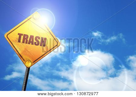 trash, 3D rendering, a yellow road sign