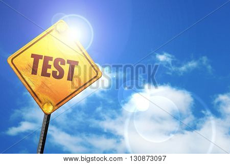 test, 3D rendering, a yellow road sign