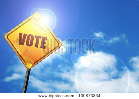 vote, 3D rendering, a yellow road sign