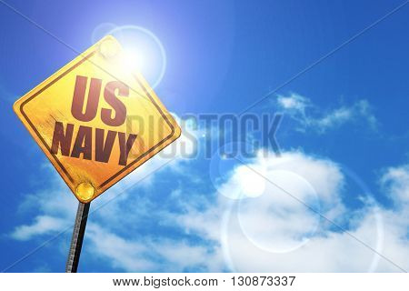 us navy, 3D rendering, a yellow road sign