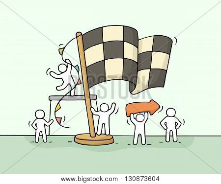 Sketch of working little people with finish flag teamwork. Doodle cute miniature scene of workers celebrate victory. Hand drawn cartoon vector illustration for business concept.