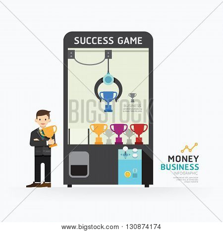Infographic business claw game template design. How to success concept vector illustration / graphic or web design layout.