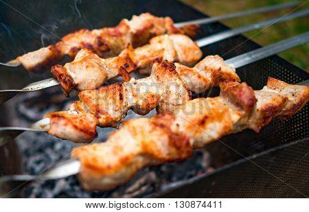 Shish kebab on metal skewers outdoor picnic