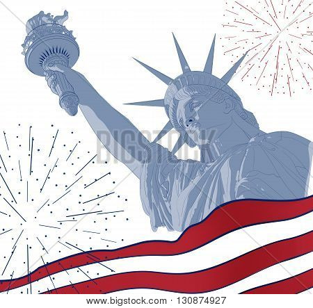 Festive card design for fourth of July Independence Day USA with symbols of America: Statue of Liberty with american flag and firework. Patriotic series, main celebration of USA. Artistic painting