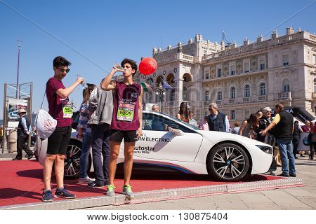TRIESTE ITALY - MAY 08: BMW i8 electric car exposed during the Bavisela half marathon in Trieste on May 08 2016