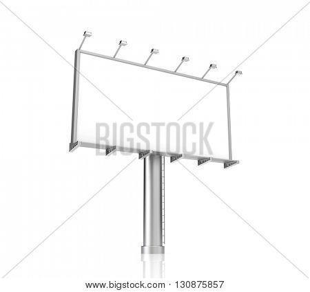 Blank billboard for advertisement on white background. 3d illustration