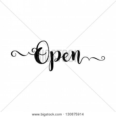 Open. Verb English. Beautiful greeting card with calligraphy black text word. Hand drawn design elements. Handwritten modern brush lettering on a white background isolated. Vector illustration EPS 10