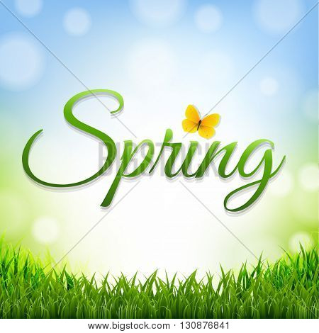 Spring Nature Background With Grass Border