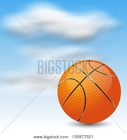 Illustration Basketball Ball on Cloudy Sky Background - Vector