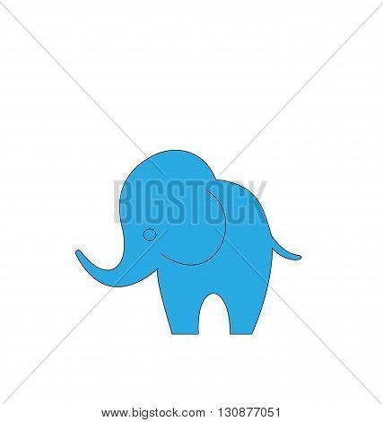 Illustration of Cartoon Elephant Isolated on White Background, Hand Drawn Animal - Vector