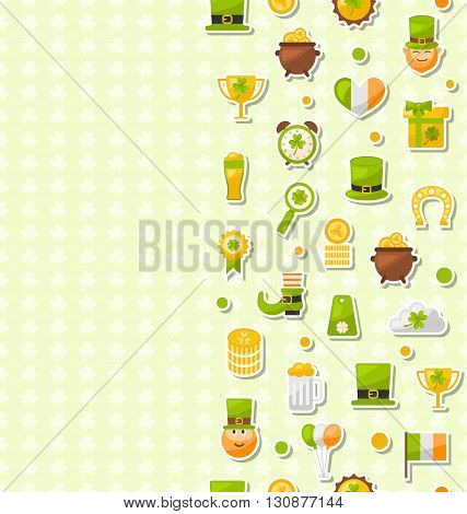 Illustration Seamless Vertical Template with Cartoon Colorful Flat Icons for Saint Patrick's Day, Traditional Irish Wallpaper - Vector