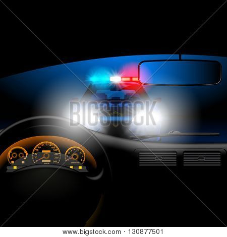 View from inside the car on the police car in night with lights. Page template design