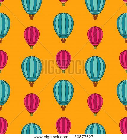 Illustration Old Seamless Travel Pattern of Air Colorful Balloons. Retro Background - Vector