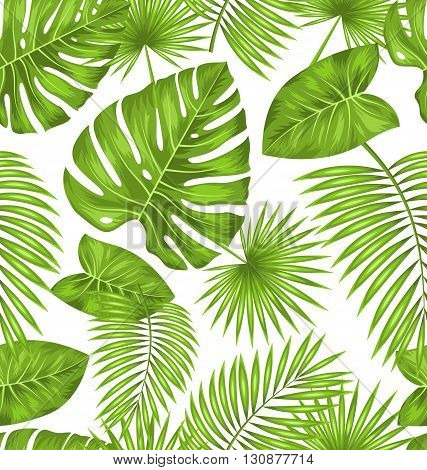 Illustration Seamless Texture with Green Tropical Leaves, Summer Beautiful Wallpaper - Vector