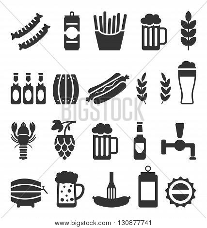 Illustration Black Icons of Beer and Snacks Isolated on White Background - Vector