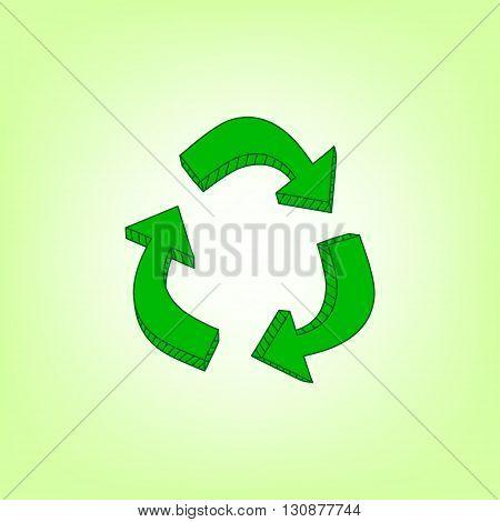 Green hand drawn recycle symbol, vector illustration