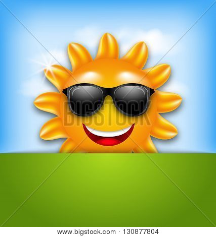 Illustration Cool Happy Summer Sun in Sunglasses - Vector