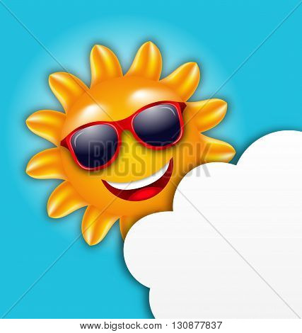 Illustration Cool Summer Sun in Sunglasses with Cloud, Copy Space for Your Text - Vector
