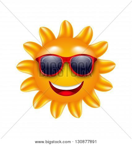 Illustration Cheerful Face of Summer Sun with Sunglasses. Isolated on White Background - Vector