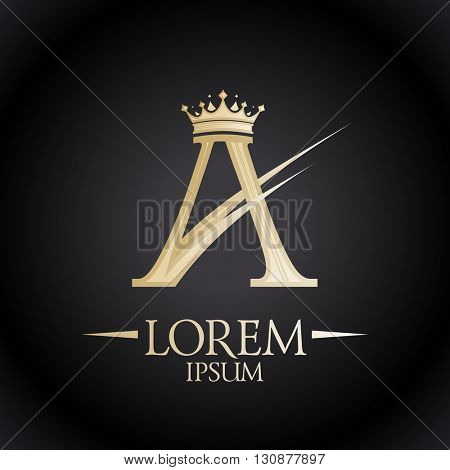 Gold royal A letter with crown, chic logo template