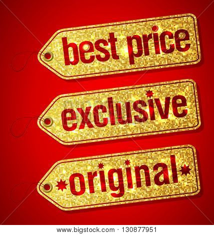 Best price, exclusive and original golden set of  labels for discount sales