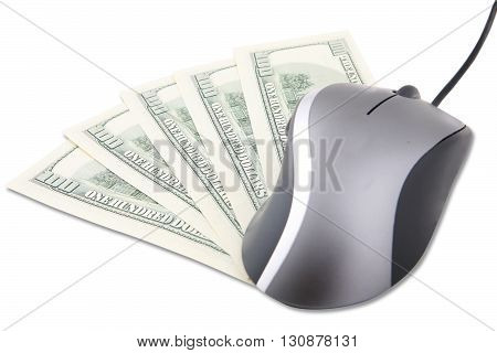 Close up of a computer mouse and five banknote of one hundred dollars isolated on white background