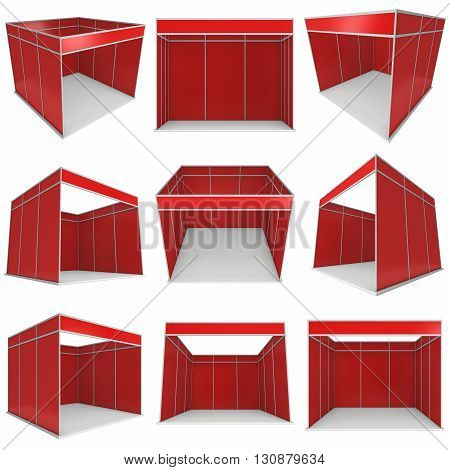 Trade Show Booth Red and White Blank Set. Blank Indoor Exhibition with Work Paths. 3d render isolated on white background. High Resolution Ad Template for your Expo design.
