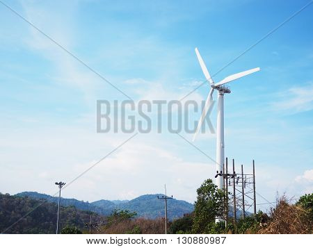 Windmill for electric power production at Phuket province Thailand