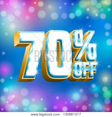 Sale design. Poster banner discount card template on the blue background with bokeh lights. Vector