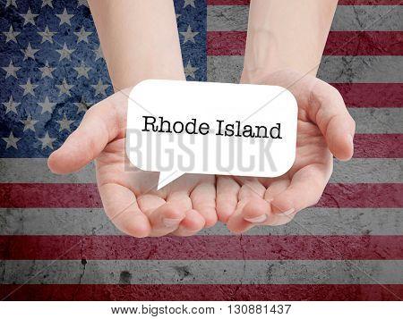 Rhode Island written in a speechbubble