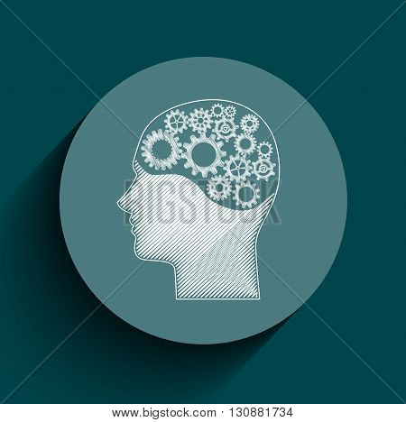 Vector illustration of Human brain mechanism with cogs and gears written by chalk on frame circle