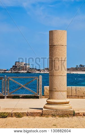 Ancient column from the Byzantine period on Mediterranean coast. National Park Caesarea, Israel