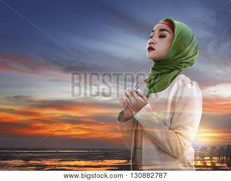 Image Of Double Exposure Muslim Woman Praying