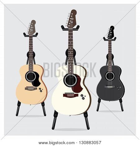 Vector Illustration Acoustic Electric Guitar set with Stand