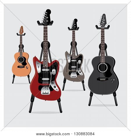 Vector Illustration Electric Guitar & Acoustic Guitar set with Stand