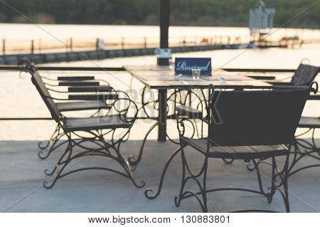 Dining table in the Cozy outdoor cafe